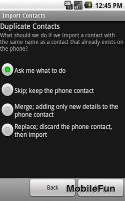 Android Contacts Import