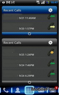 Scrollable Call Log Widget