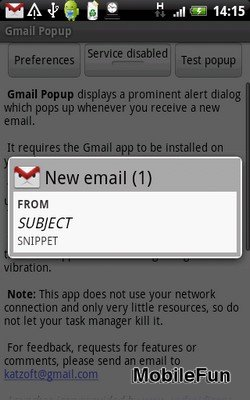 Gmail Popup